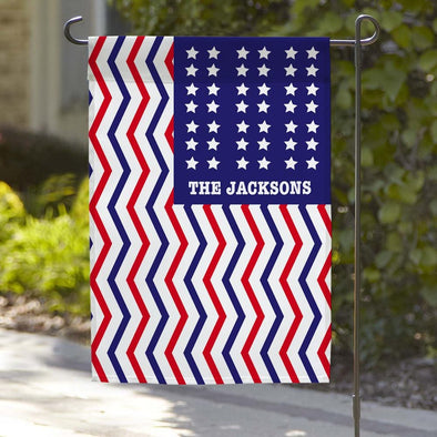 Red White & Blue Custom Patriotic Garden Flag.