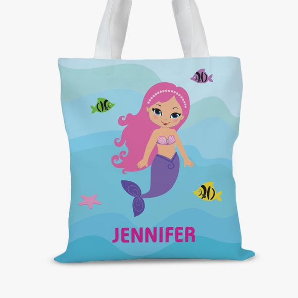 Mermaid Personalized Kids Tote Bag.