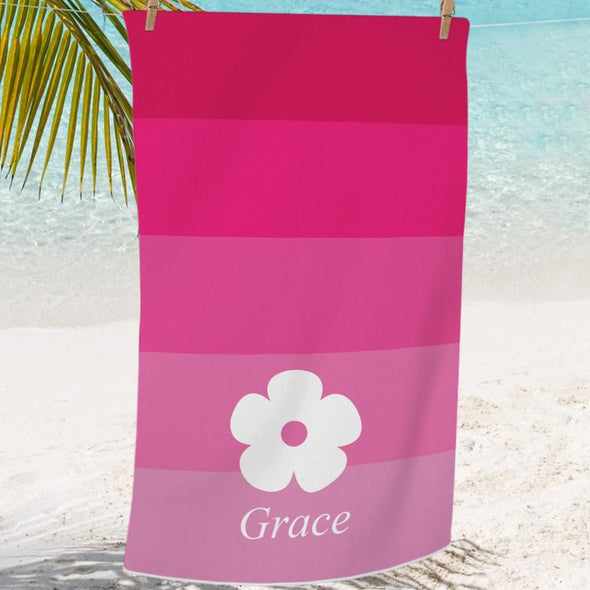 Pink Hibiscus Personalized Mini Beach, Bath Towel for Kids.