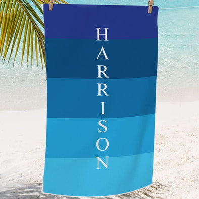 Personalized Shades of Blue Mini Beach, Bath or Pool Towel for Kids