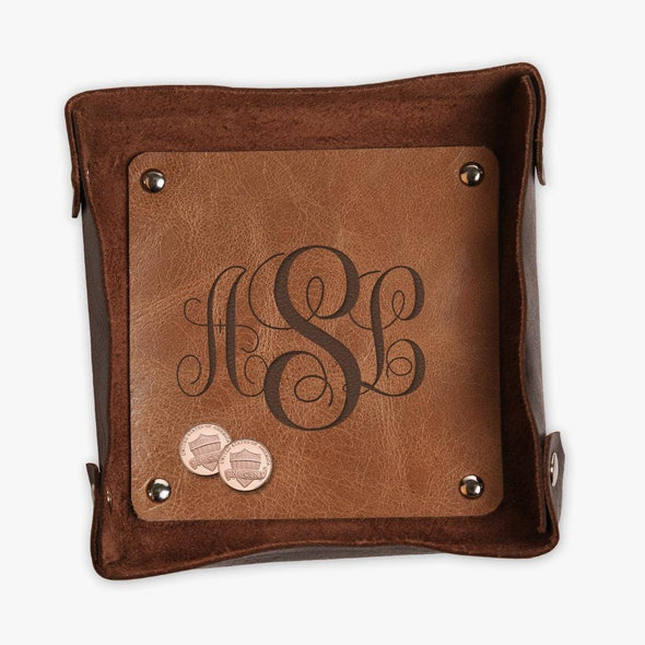 Two Toned Script Monogram Genuine Leather Stash Tray