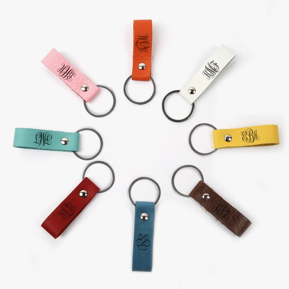 Scroll Monogram Genuine Leather Color Keychain.