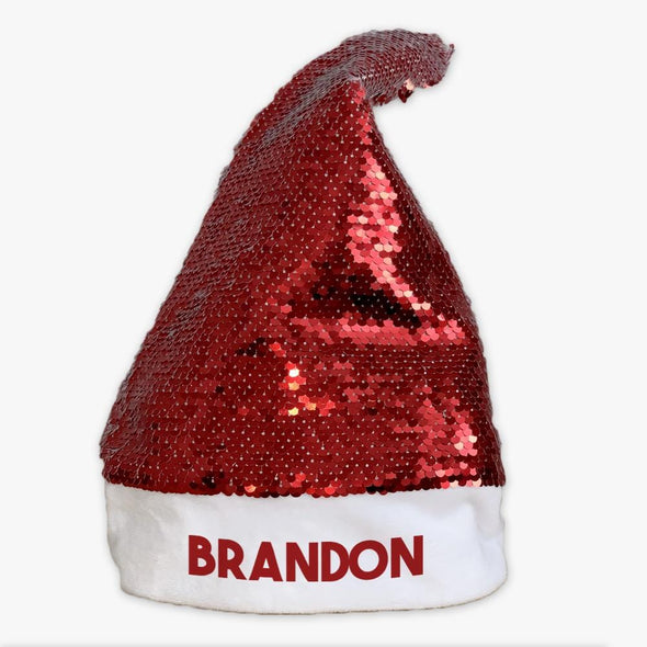 Christmas Personalized Sequin Santa Hat