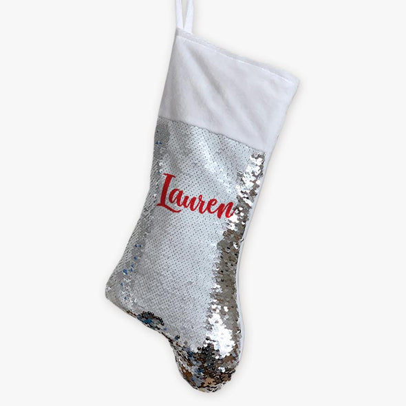 Script Name Christmas Personalized Sequin Stocking.