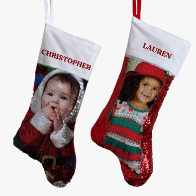 Photo Christmas Personalized Sequin Stocking.