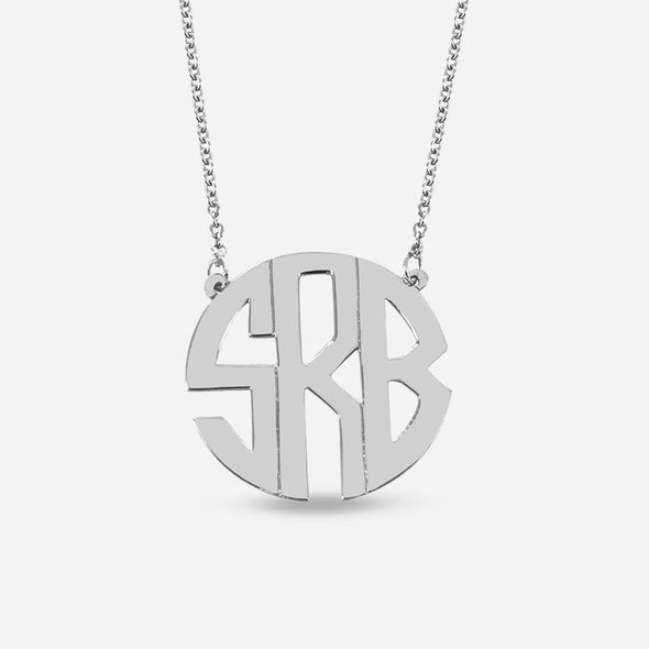 Silver Handmade Block Monogram Necklace Split Chain | Monogram Initial Pendant.