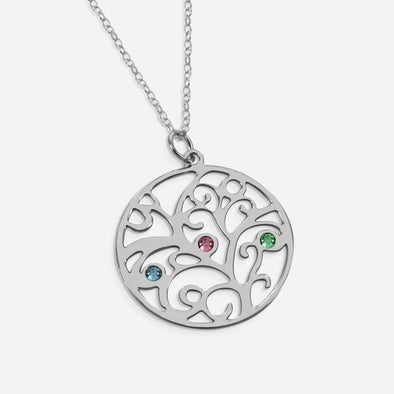 Sterling Silver Birthstone Family Tree Necklace.