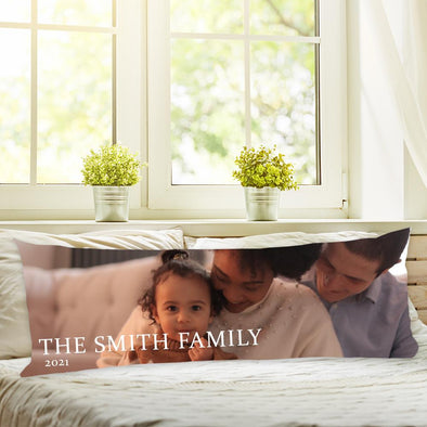 """The Smith Family 2021"" Custom Body Pillow Case of Your Photo 