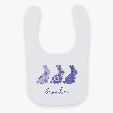 Flash Sale - Spring Bunnies Personalized Baby Bib