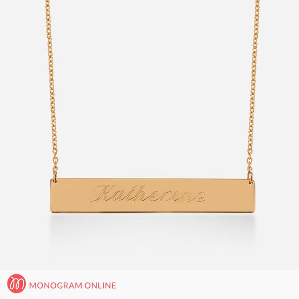 Sterling Silver Bar Necklace - Name Engraved in Script.