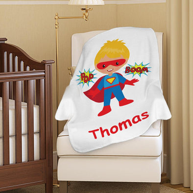 Superhero Custom Baby Boy Blanket | Personalized w/ Name Kids Fleece Throw.
