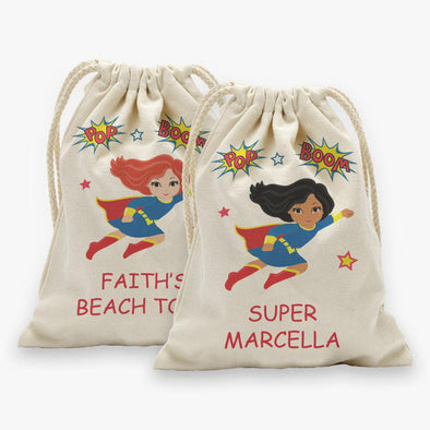 Super Hero Personalized Character Drawstring Sack.