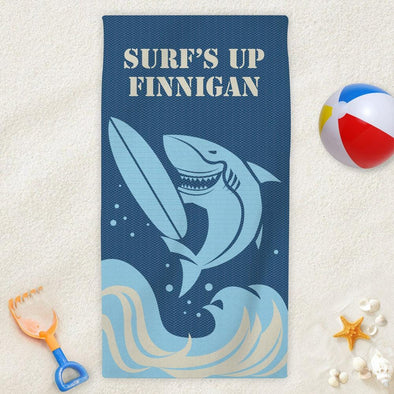 Surf's Up Shark Personalized Beach Towel for Kids