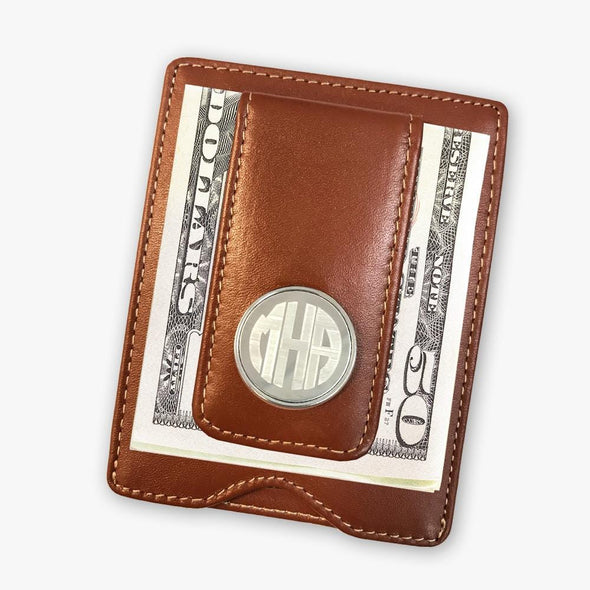 Personalized Leather Money Clip.