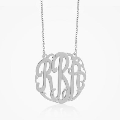Traditional Sterling Silver Monogram Necklace | Monogram Initial Pendant.