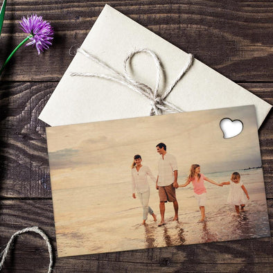 Family Photo Personalized Wood Postcard.