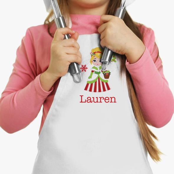 Winter Princess Personalized Kids Apron.