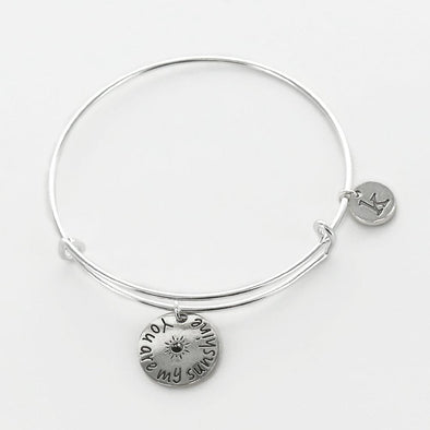 You Are My Sunshine Personalized Inspirational Charm Bangle.