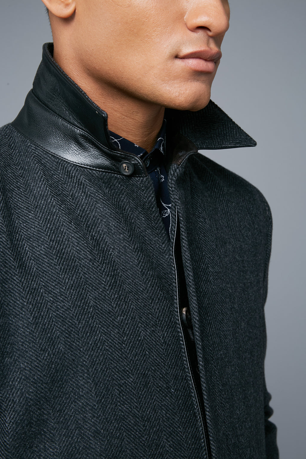 Detail View: Model Tre Boutilier wearing Téchin Coat