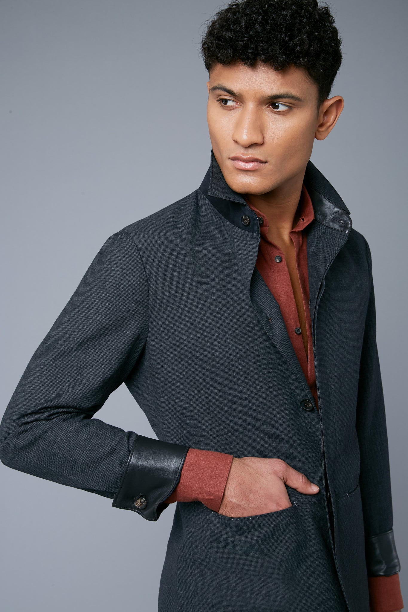Half Lined Téchin Jacket | Grey Microcheck