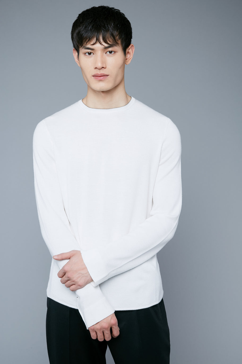 Long Sleeve Sweater Tee | White