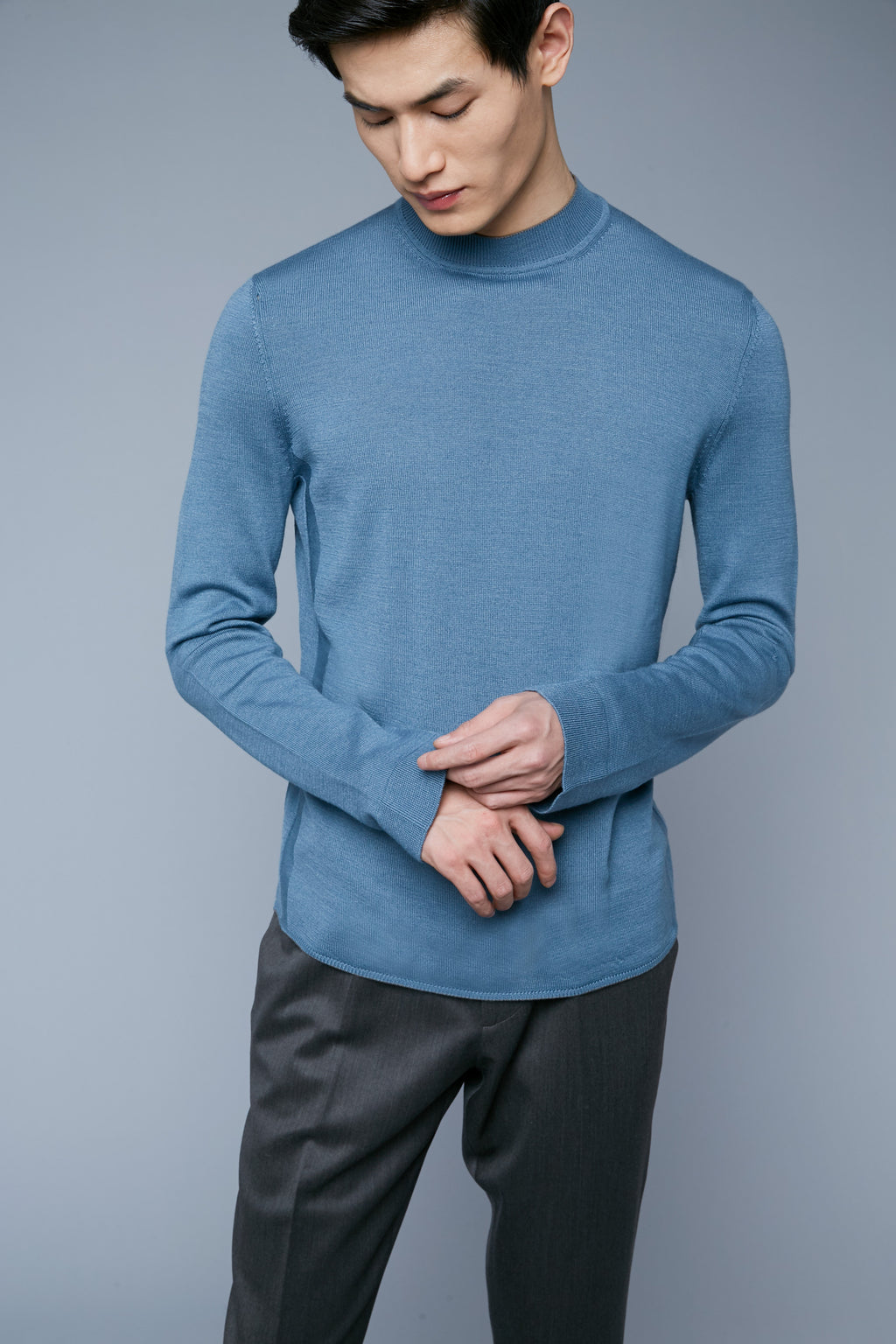 Royal Neck Sweater Tee | Pewter