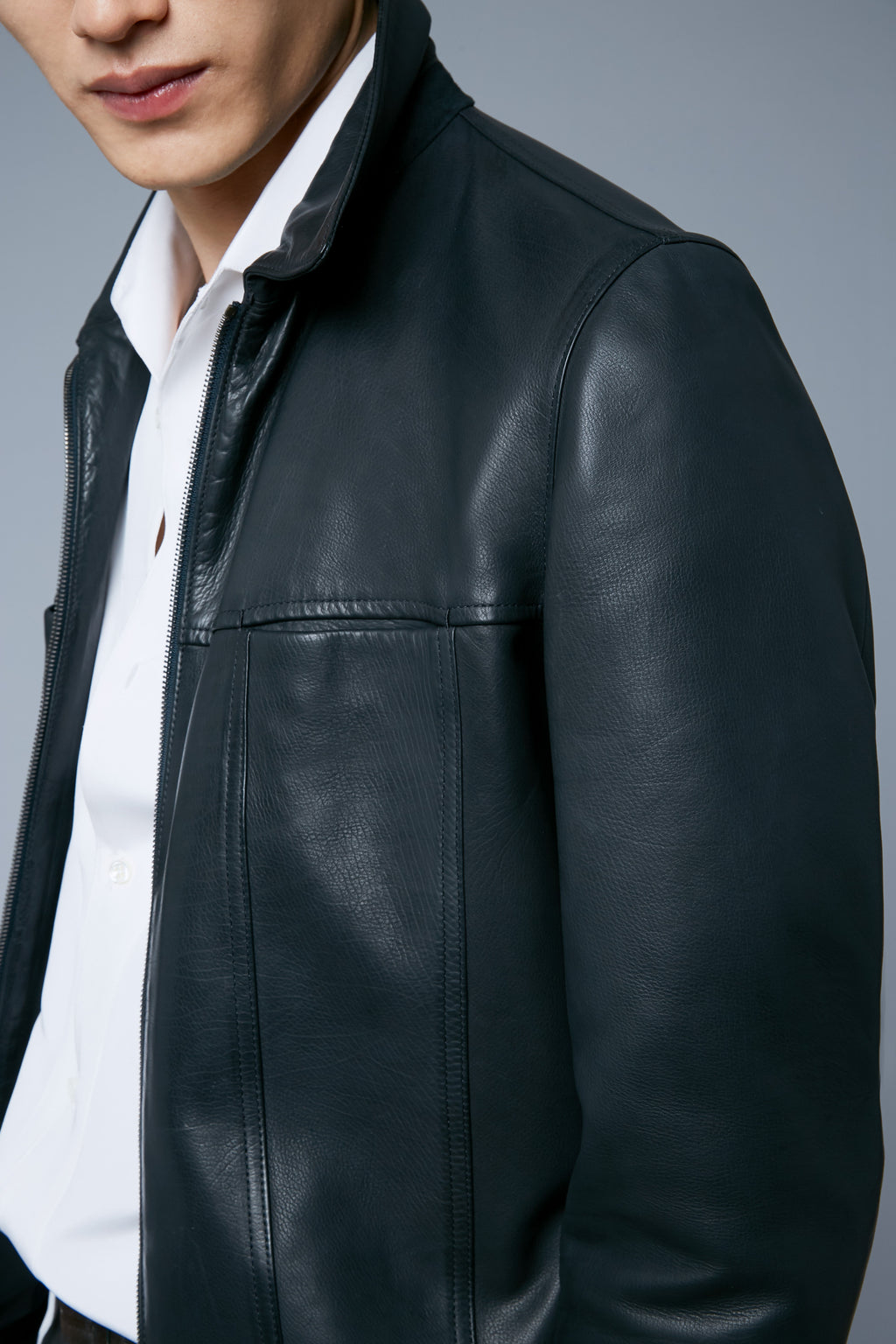 Detail View: Model Qiang Li wearing Leather Supple Jacket