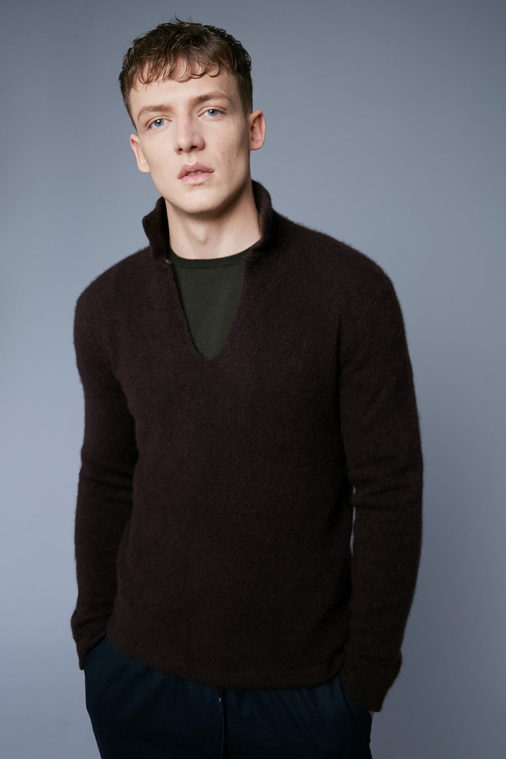 Mood View: Model Milos Drago wearing Cashmere Boucle Sweater