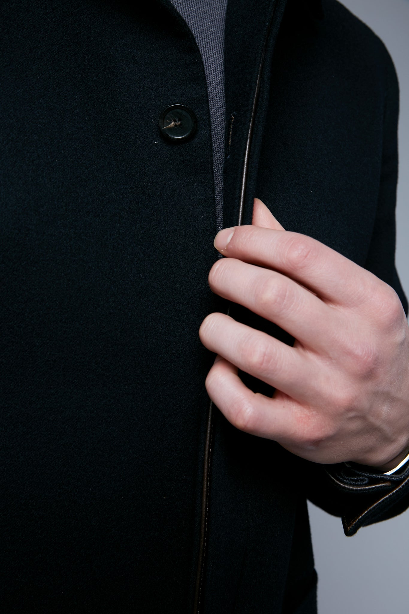 Detail View: Model Hans Weiner wearing Téchin Jacket