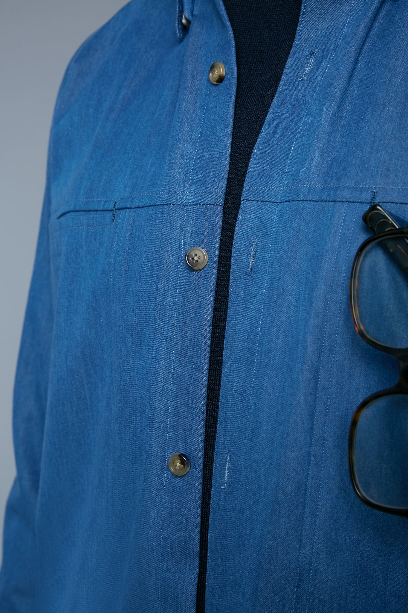 Detail View: Model Milos Drago wearing Kojima Denim Shirt