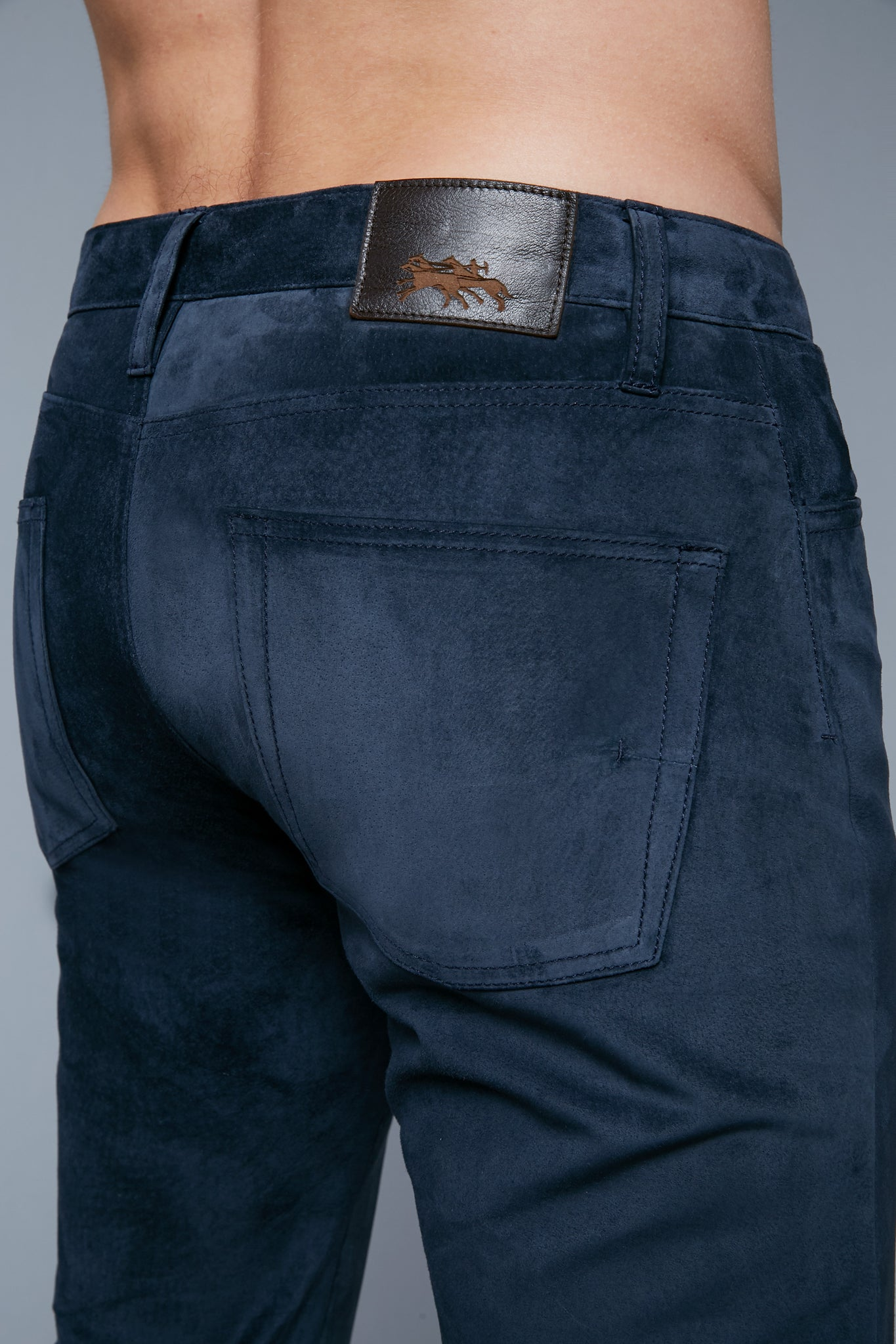 Detail View: Model Hans Weiner wearing Suede 5 Pocket Pants