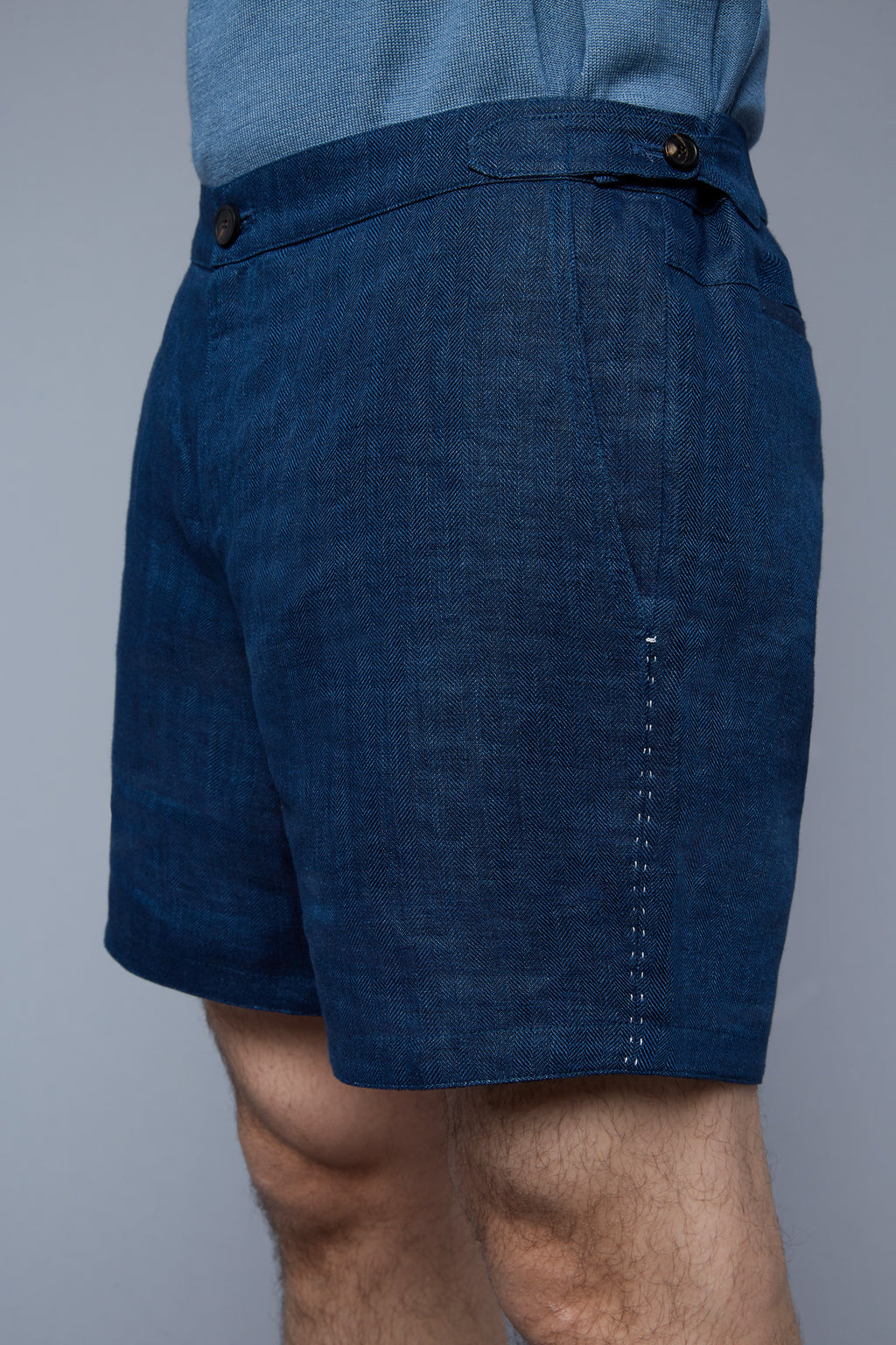 Tab Shorts | Blue Herringbone