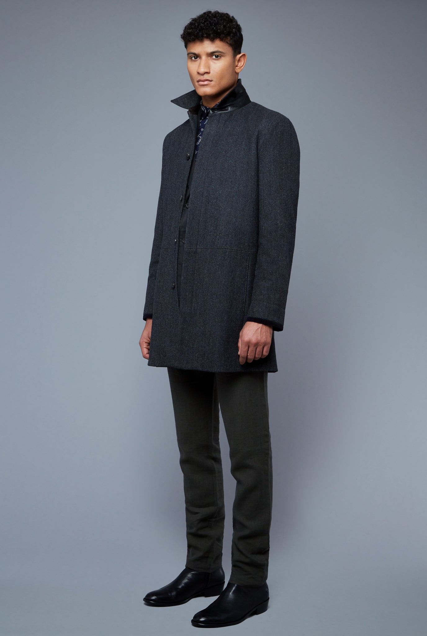 Three Quarter View: Model Tre Boutilier wearing Téchin Coat