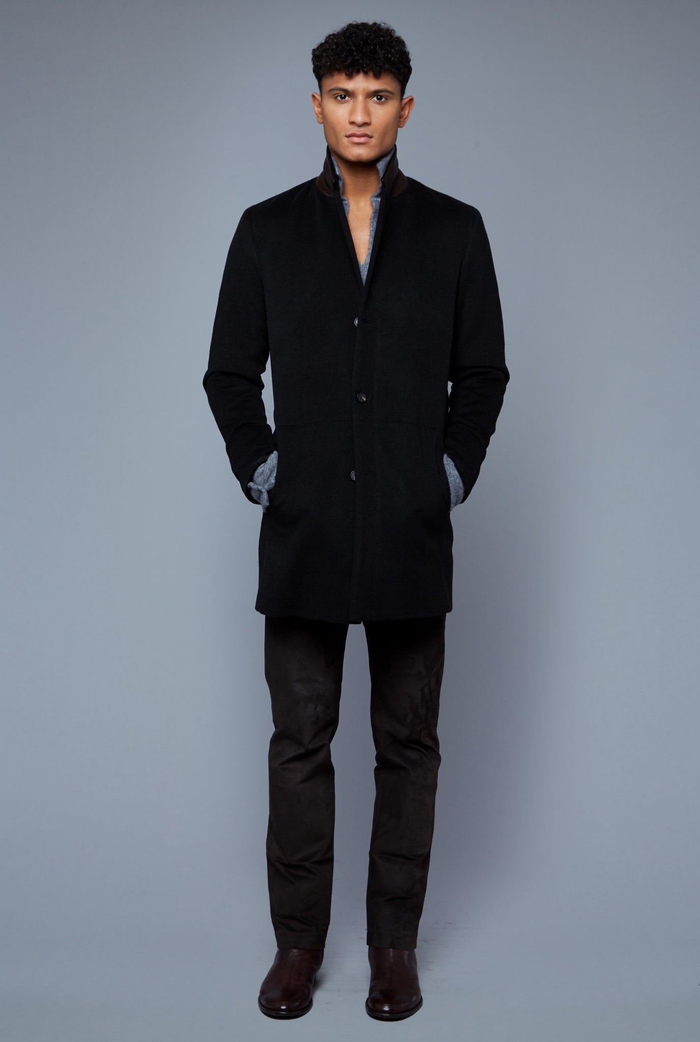 Front View: Model Tre Boutilier wearing Camel Coat