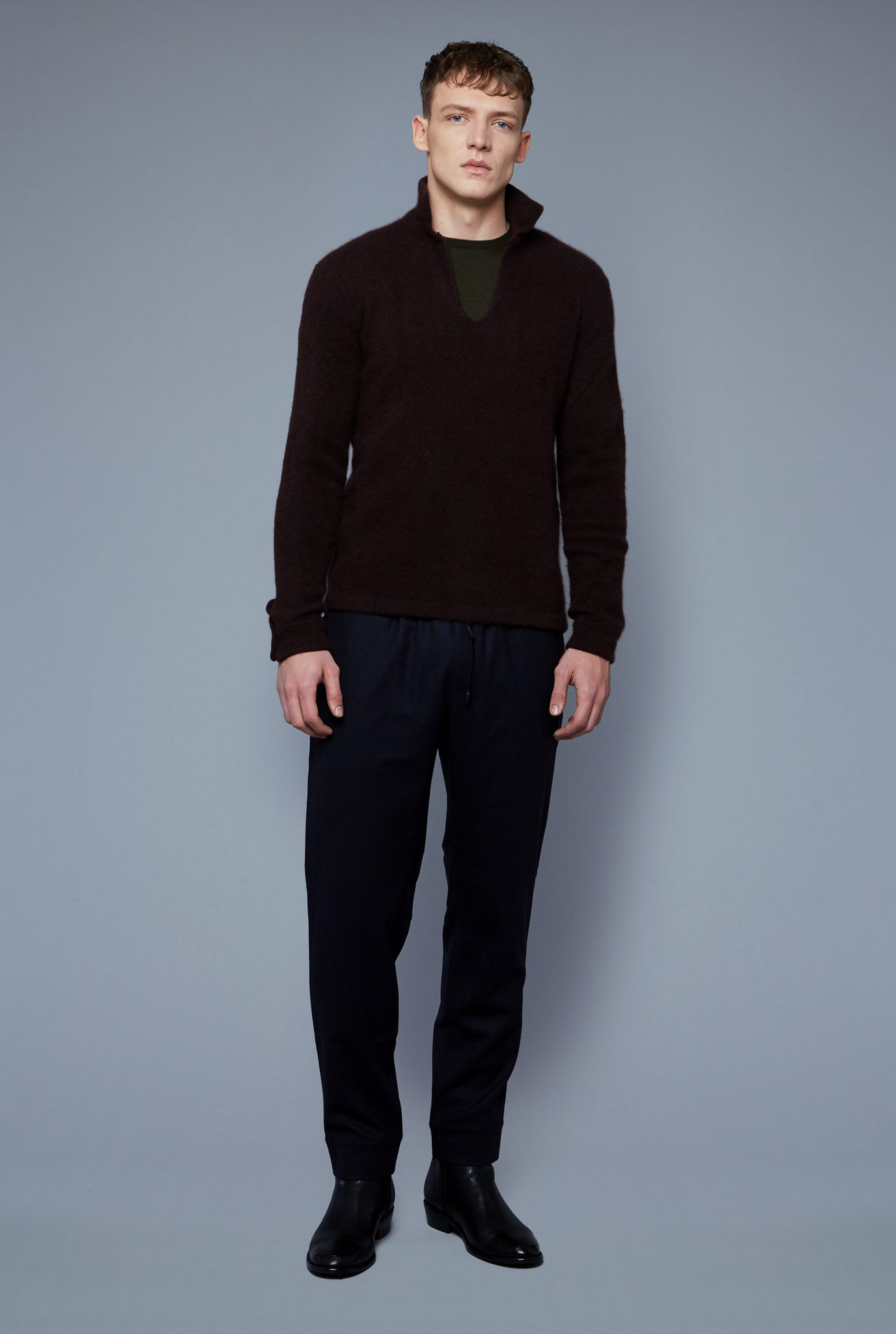 Front View: Model Milos Drago wearing Cashmere Boucle Sweater