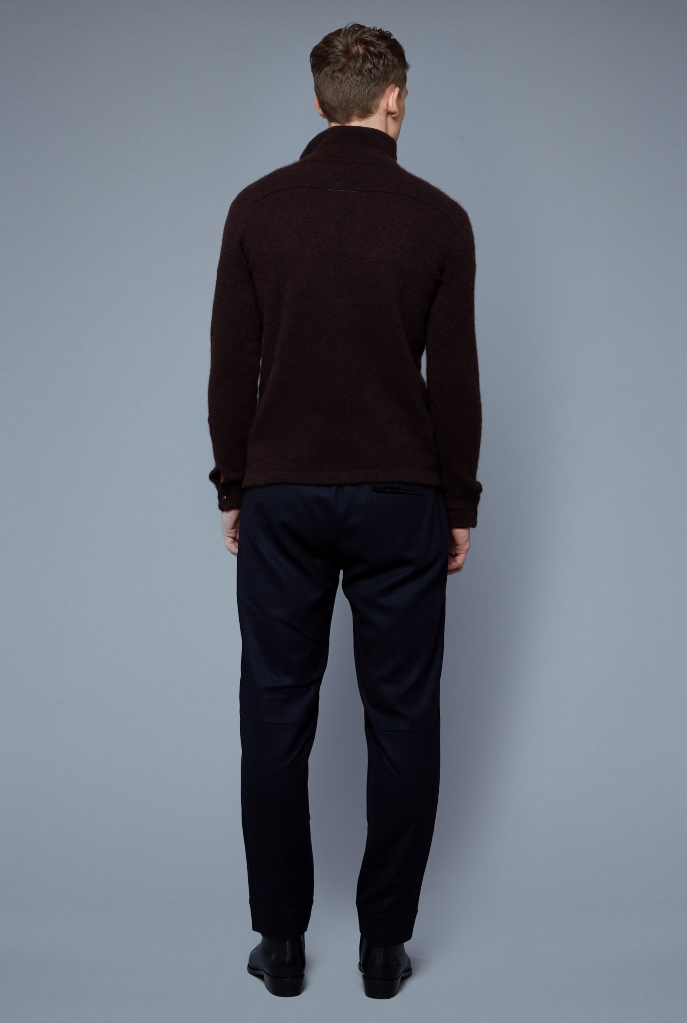 Back View: Model Milos Drago wearing Cashmere Boucle Sweater