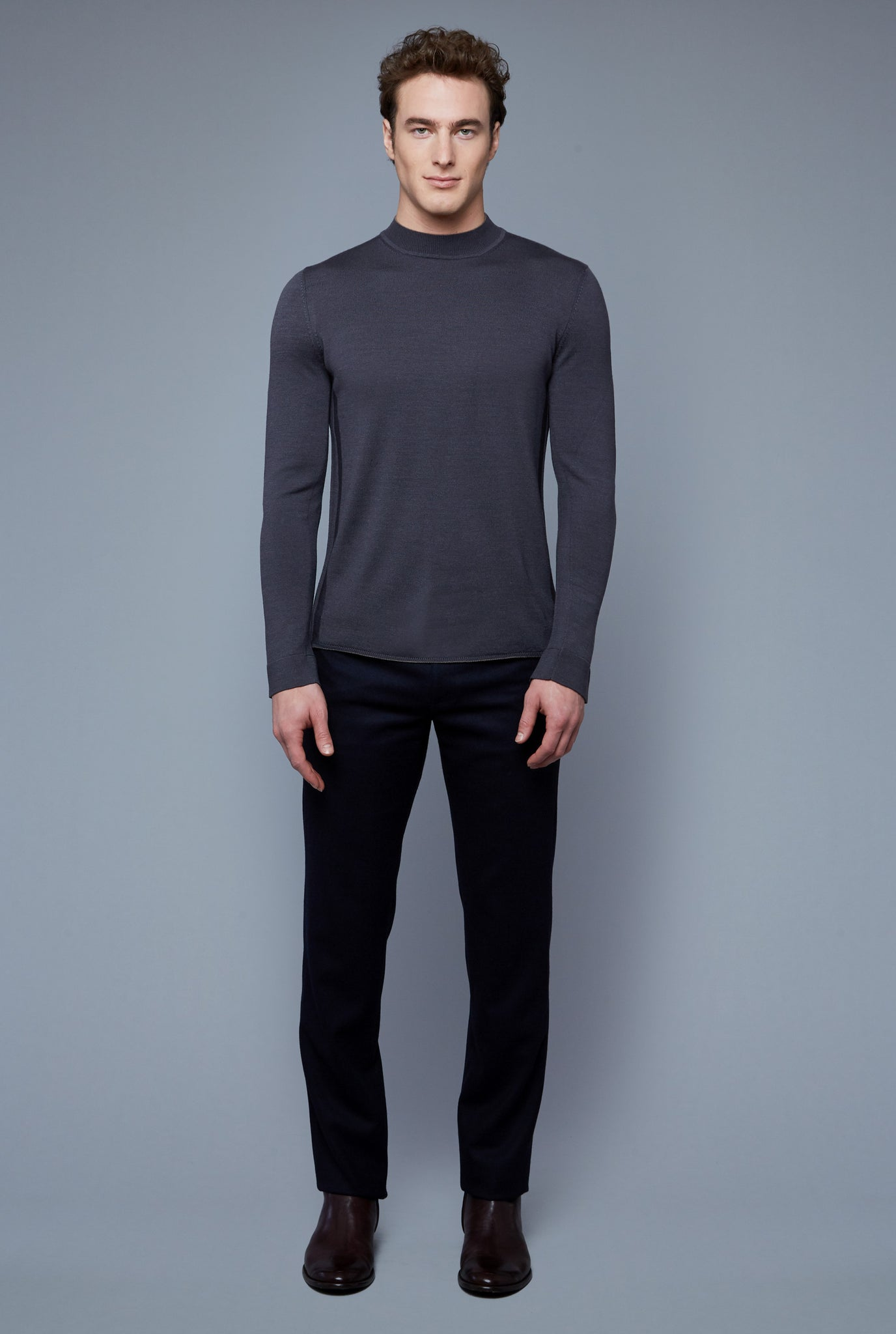 Royal Neck Sweater Tee | Anthracite