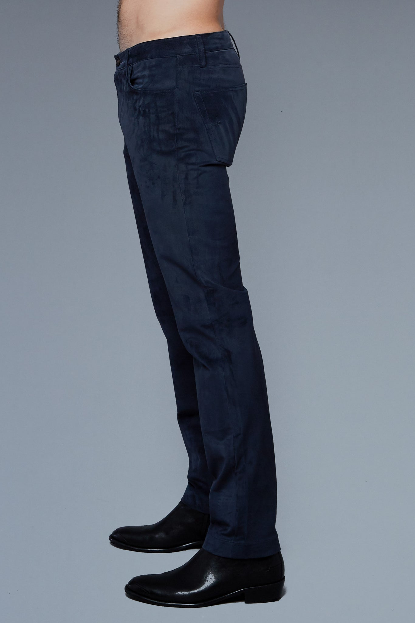 Side View: Model Hans Weiner wearing Suede 5 Pocket Pants