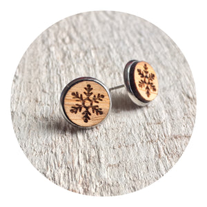 Snowflake Bezel Stud Earrings