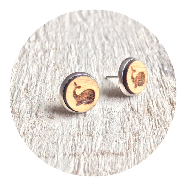 Whale Bezel Stud Earrings