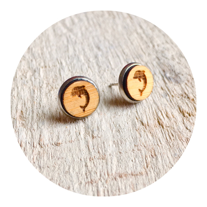 Dolphin Bezel Stud Earrings