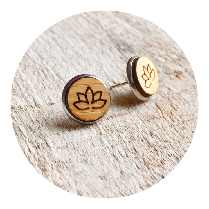 Lotus Bezel Stud Earrings
