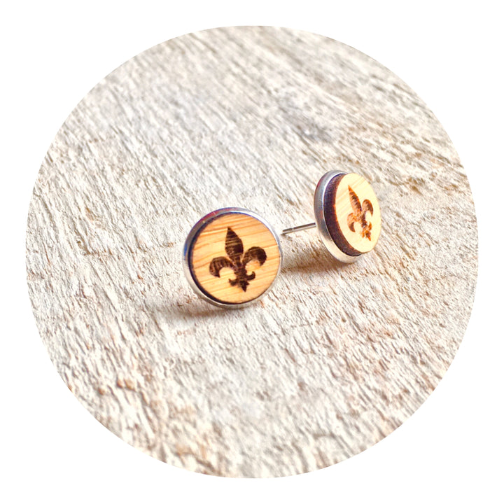 Fleur de Lis Bezel Stud Earrings