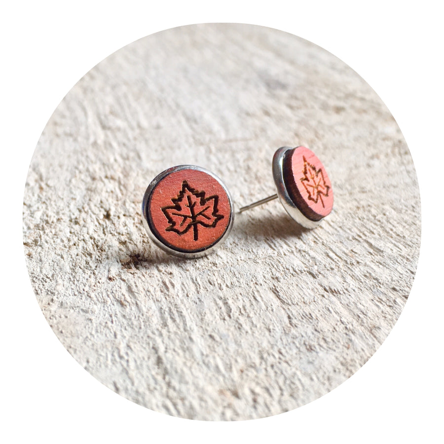 Maple Leaf Bezel Stud Earrings