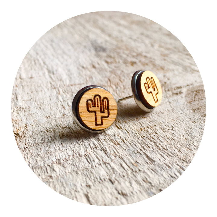 Cactus Bezel Stud Earrings