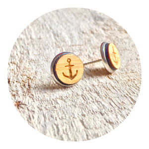 Anchor Bezel Stud Earrings