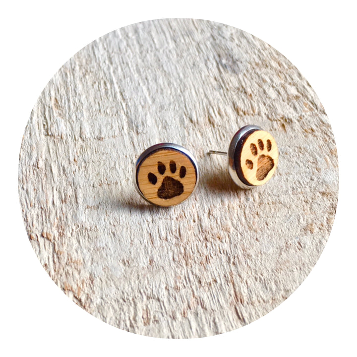 Paw Bezel Stud Earrings