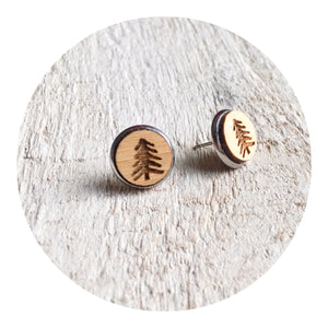 Pine Tree Bezel Stud Earrings