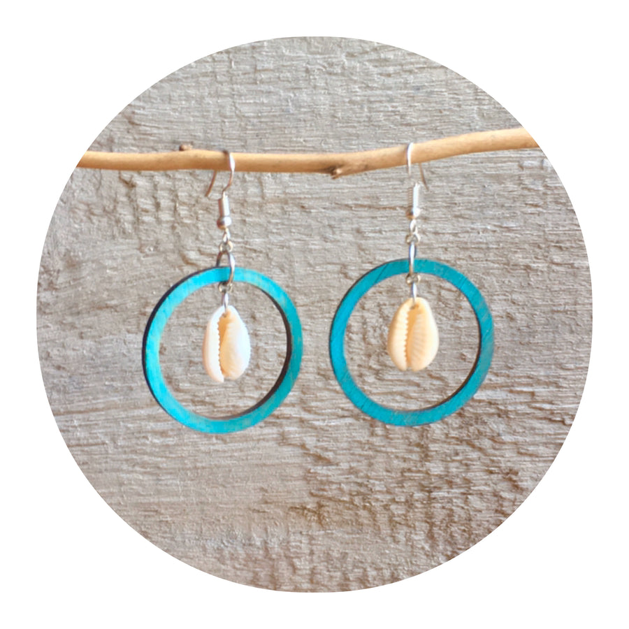 Cowrie Hoop Earrings