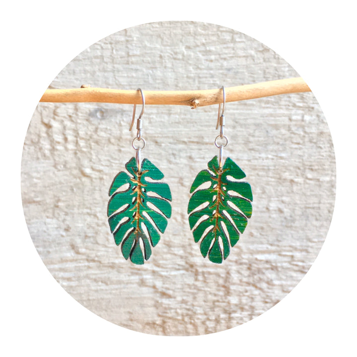 Monstera Dangle Earrings